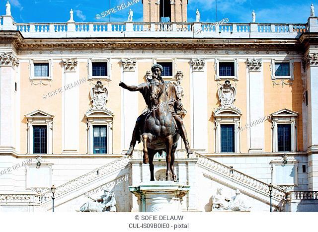 Statue at Piazza Campidoglio, Rome, Italy