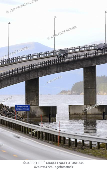 Karlsøyfjorden and Bolsøybrua bridge in Møre og Romsdal county, Norway, Europe