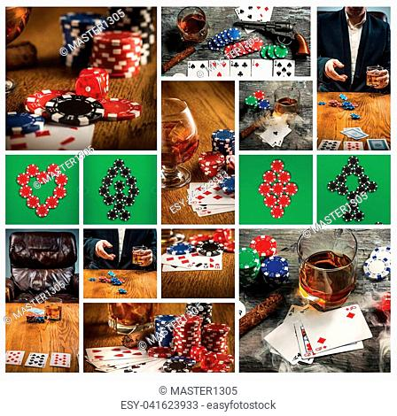Cigar, chips for gamblings, drink and playing cards on wooden table. Poker concept. Collage