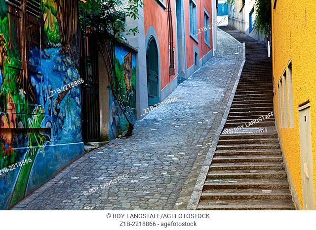 A steep alley with staircase in Zurich's old town, Switzerland