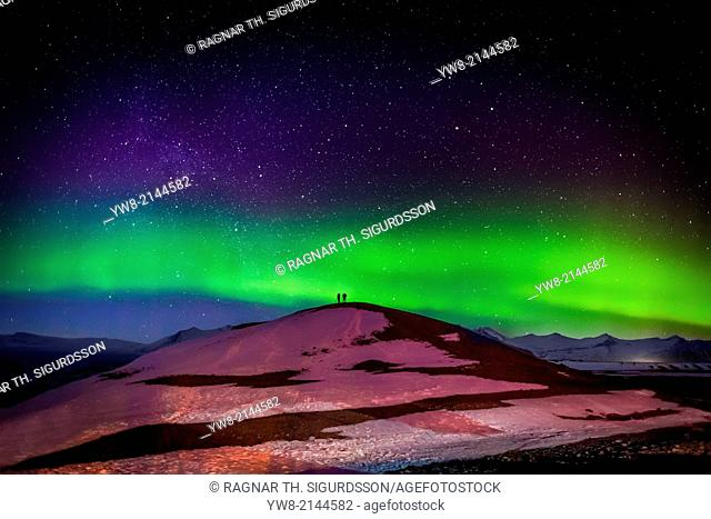 Photographing the Auroras and Icebergs at the glacial lagoon, Jokulsarlon Breidamerkurjokull, Vatnajokull Ice Cap, Iceland