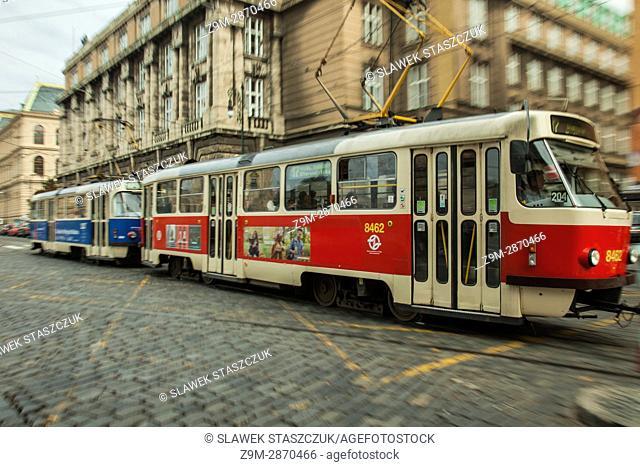 Traditional tram in Prague, Czech Republic