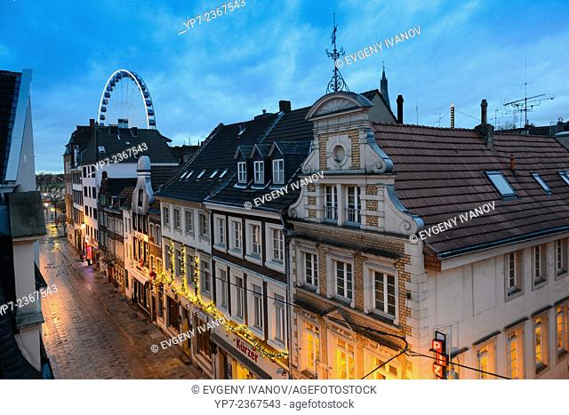 Dusseldorf Old Town Street In The Evening, Germany