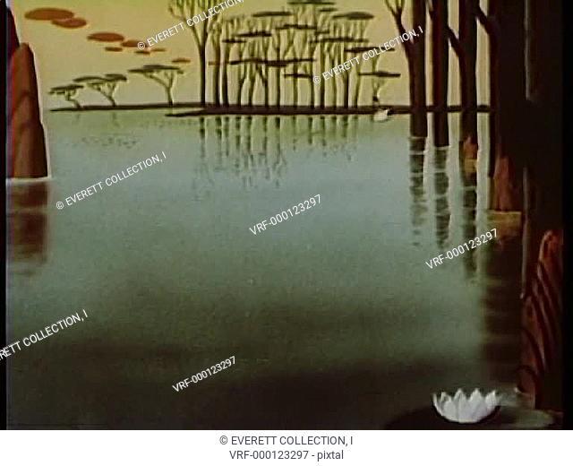 Cartoon of a swan swimming across lake