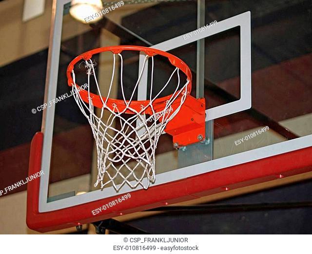 Closeup of a Basketball Hoop and Backboard