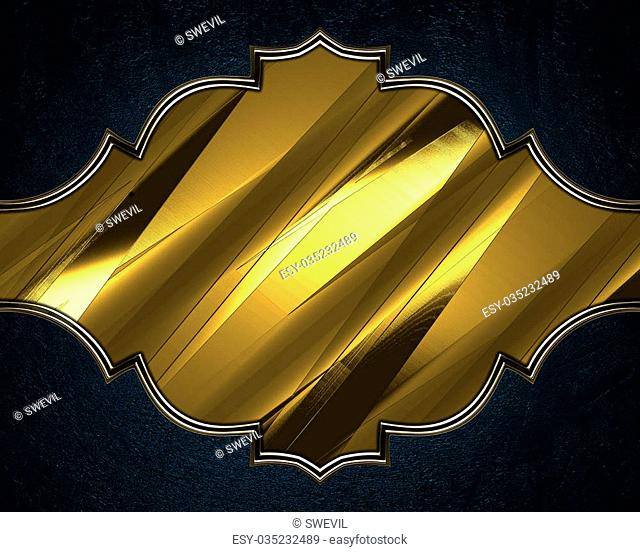 Blue background with a gold nameplate for the letter. Design template. Design site