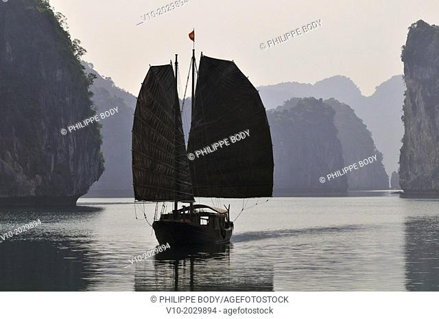 Vietnam, Ha Long bay a World heritage site of UNESCO, junk boat in the bay