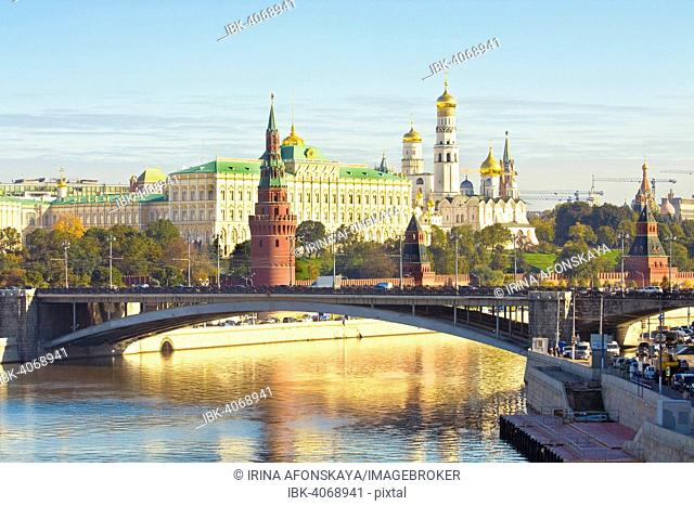 Moscow Kremlin with palace and cathedrals and stone bridge across the Moskva River, Moscow, Russia