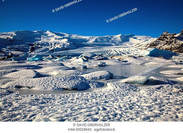 Mountains, floes, Europe, Fjallsarlón, Fjallsjökull, glacier, glacier lagoon, Island, sceneries, snow, volcano island, winter, Öraefajökull