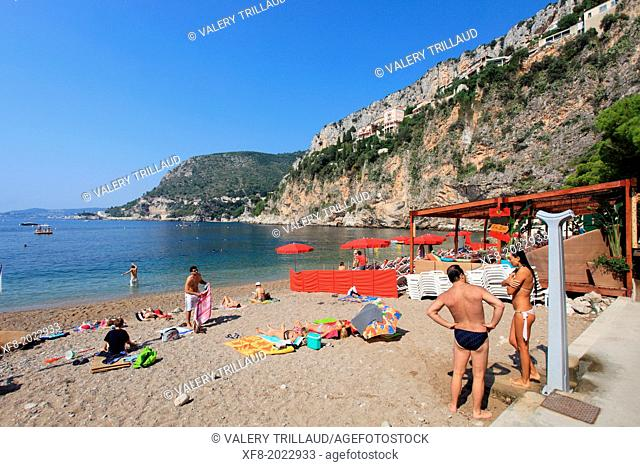 The beach of La Mala in Cap d'Ail, Alpes-Maritimes, French Riviera, PACA, France