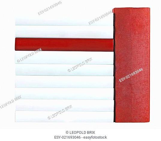 Buchrücken in rot und weiß