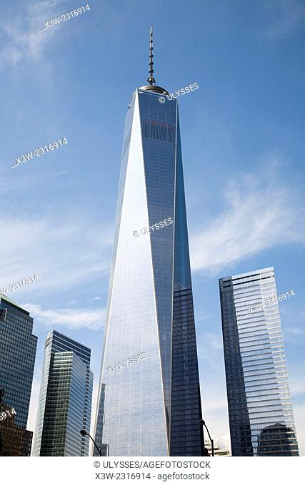 one world trade center and skyscrapers, financial district, Manhattan, New York, Usa, America