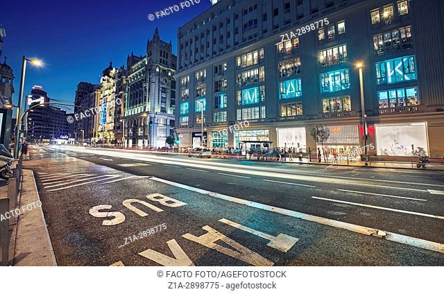 Primark Shopping center in Gran Via street at night, Madrid, Spain