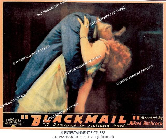 RELEASE DATE: October 6, 1929. MOVIE TITLE: Blackmail. STUDIO: British International Pictures (BIP). PLOT: Alice White, detective Frank Webber's girlfriend