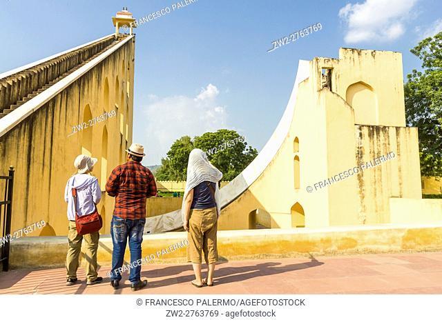 Tourists visit the Jantar Mantar area. Jaipur, Rajasthan. India