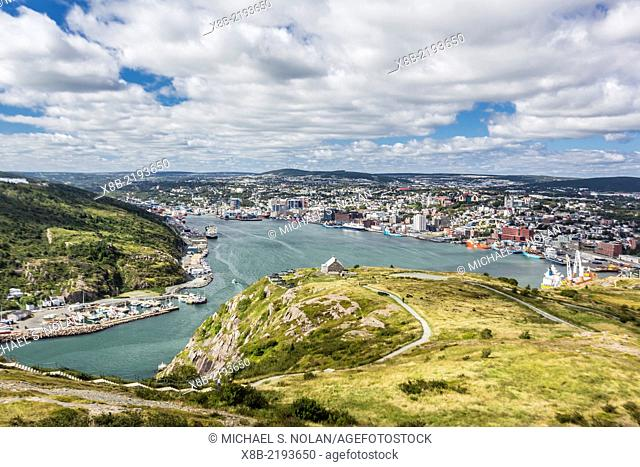 St. Johns Harbour and downtown area from Signal Hill, St. John's, Newfoundland, Canada