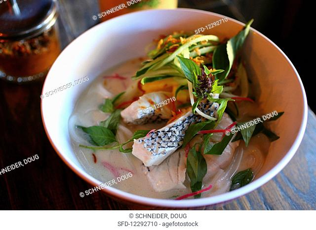 Coconut poached bass (coconut broth, pineapple, vietnamese mint)