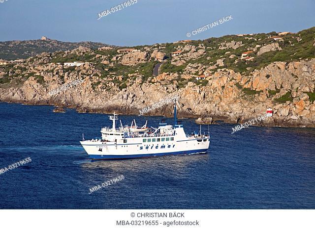 Ferryboat, coast, Torre Longosardo, Santa Teresa di Gallura, Sardinia, Italy