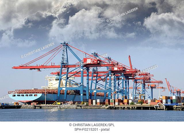 Container port with ship