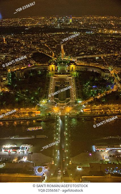 Aerial Night view of Paris from Eiffel Tower, Trocadero, France, Europe