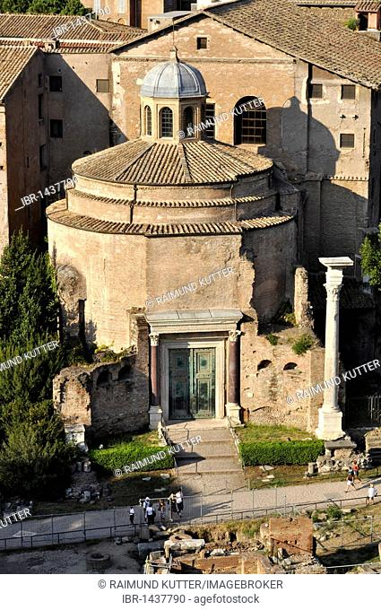 Temple of Romulus or Santi Cosma e Damiano, Forum Romanum, Roman Forum, Rome, Lazio, Italy, Europe