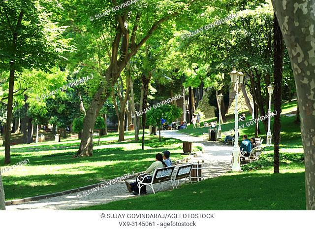 Istanbul, Turkey - June 10, 2016: People spending their free time at local park in Istanbul