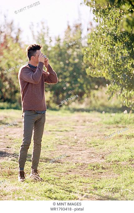 An apple orchard in Utah. Man taking a picture