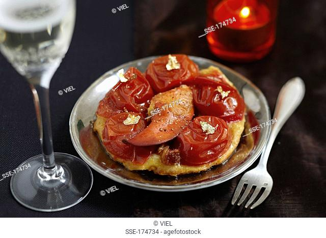 Lobster and stewed tomato tatin tartlet