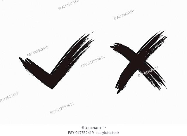 Tick and cross signs. Brush black checkmark OK and X icons, isolated on white background. Marks graphic design. Symbols YES and NO button for vote, decision