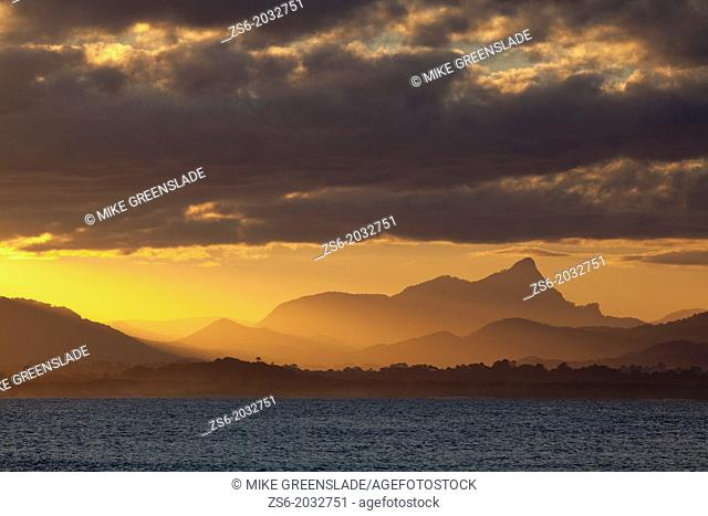 Mt Warning sunset from The Pass, Byron Bay, New South Wales, Australia