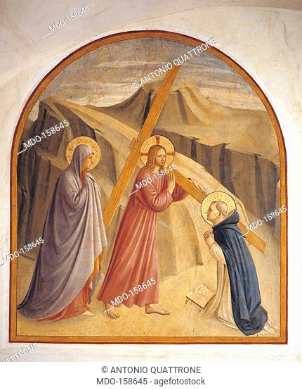 The Ascent to Calvary, by Guido di Pietro (Piero) known as Beato Angelico, 1438 - 1446, 15th Century, curved fresco, . Italy, Tuscany, Florence