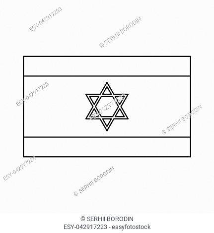 Flag of Israel it is black color icon