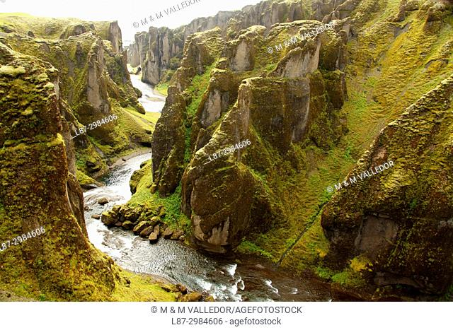 The Fjadrargljufur canyon in the south of Iceland