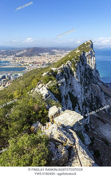 Rock of Gbraltar with a view over Rock Gun Battery to Gibraltar city, the Bay of Gibraltar, Gibraltar International Airport and to the Spanish mainland