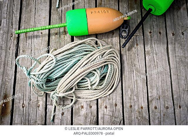 Boat buoy and rope on a dock