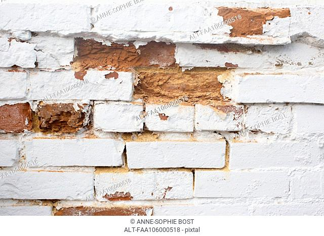 Deteriorating brick wall