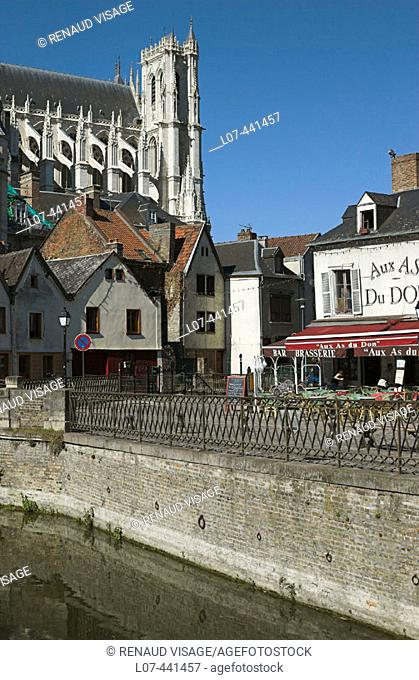 View of the town of Amiens and the Cathedral. Amiens. France