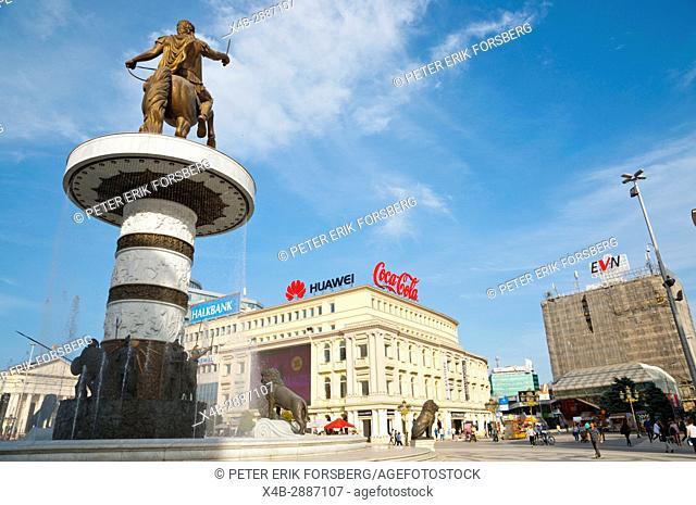 Plostad Makedonija, Macedonia square, with Alexander the Great warrior on a horse statue, Skopje, Macedonia