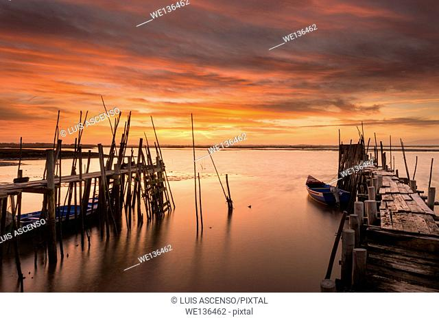 Carrasqueira sunset, Portugal, Sado river, Setúbal, Comporta, Carrasqueira, pier stilts in wood, long exposure