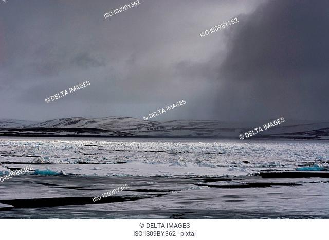 Pack ice, Murchinson Bay, Murchisonfjorden, Nordaustlandet, Svalbard, Norway