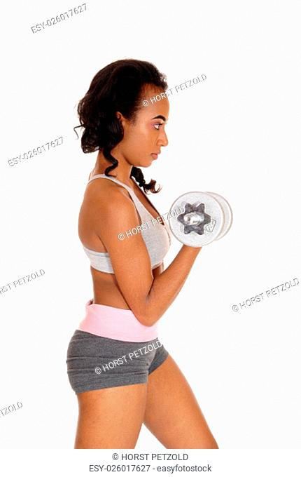 A beautiful young African American woman in a gray sports bra and shorts .exercising with dumbbell's, isolated for white background.