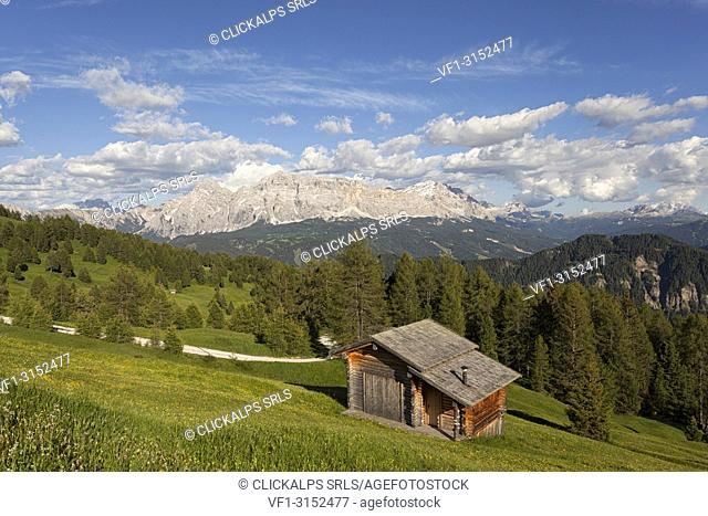 Longiarù, San Martino in Badia, Badia Valley, Dolomites, Bolzano province, South Tyrol, Italy. A chalet with Sasso della Croce in the background