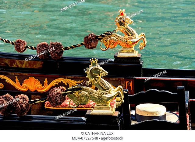 Venice, gondola, detail, icon, mythological horse, Hippocampi