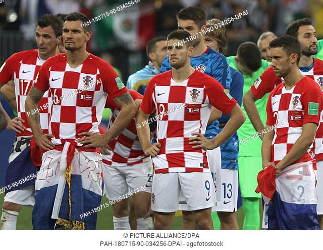 15 July 2018, Russia, Moscow: Soccer, World Cup 2018: Final game, France vs. Croatia at the Luzhniki Stadium. Croatia's Dejan Lovren