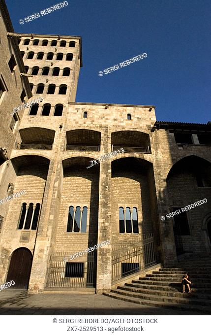 Palau Reial Major (Grand Royal Palace) in Placa del rei (King's Square) Gothic quarter, Barcelona, Spain. In the Middle Ages