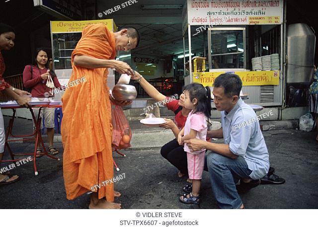 Asia, Bangkok, Buddhism, Buddhist, Child, Family, Food, Girl, Holiday, Landmark, Making, Man, Merit, Monk, Offerings, Religion