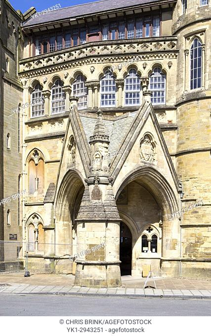 Entrance to the Old College university building in Aberystwyth Ceredigion Wales UK