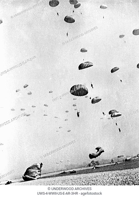 Germany: March 31, 1945.Members of the First Allied Airborne Army drop behind German positions on the far side of the Rhine