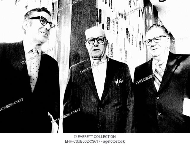 Union leaders discuss President Richard Nixon's Phase 2 Economic Plan. Oct. 12, 1971. Phase II required that the Cost of Living Council to stabilize wages and...