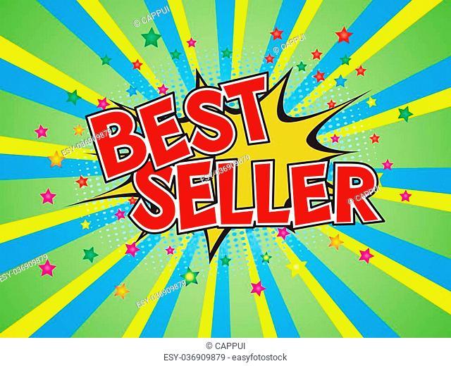 Best Seller, wording in comic speech bubble on burst background, EPS10 Vector Illlustration
